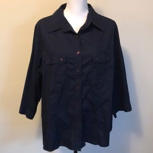 Avenue navy blue button down shirt stretch 22/24